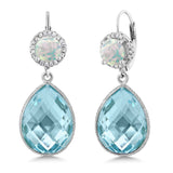 Gem Stone King 0.60 Ct Round White Simulated Opal Swiss Blue Topaz 925 Sterling Silver Earrings