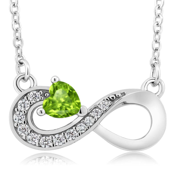 0.40 Ct Heart Shape Green Peridot 925 Sterling Silver Infinity Necklace