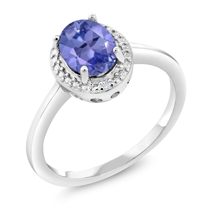 Gem Stone King 1.17 Ct Oval Blue Tanzanite White Diamond 925 Sterling Silver Ring