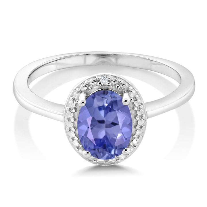 1.17 Ct Oval Blue Tanzanite White Diamond 925 Sterling Silver Ring