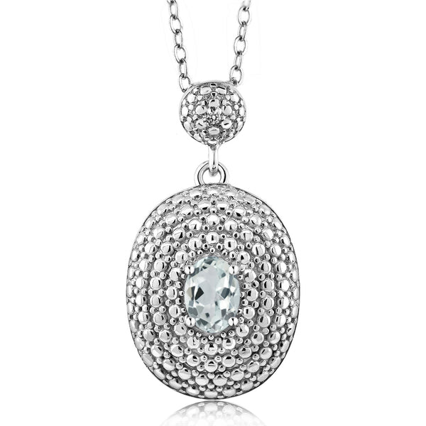 0.44 Ct Oval Sky Blue Aquamarine White Diamond Rhodium Plated Pendant