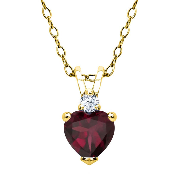 0.59 Ct Rhodolite Garnet Created Sapphire 18K Yellow Gold Plated Silver Pendant