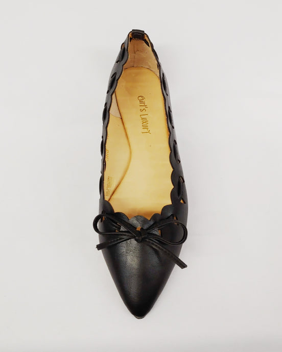 Black Flats with Perforated Design and Accent Bow
