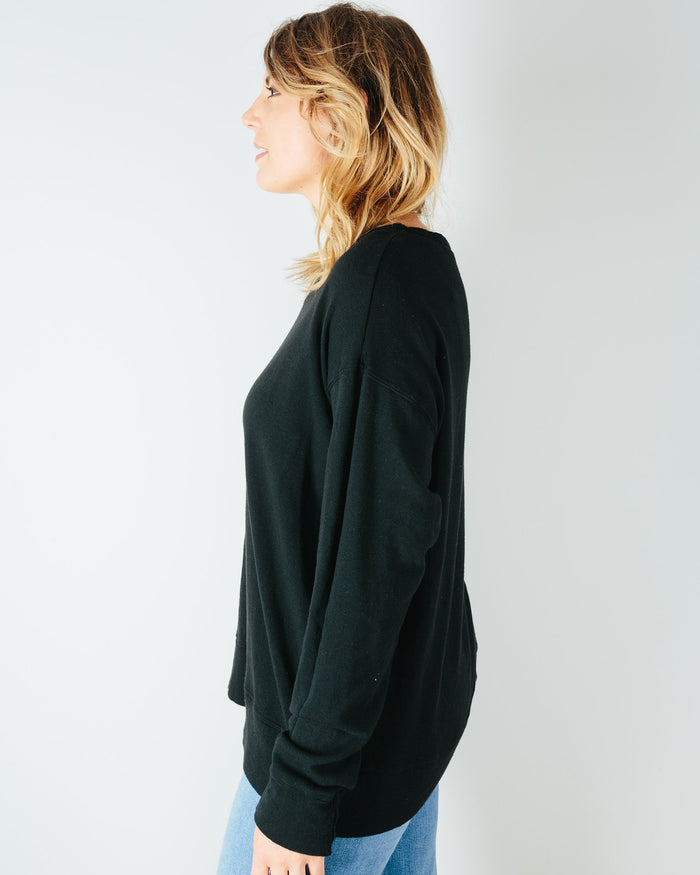 CP Shades Clothing Pam Knit Boxy Sweatshirt in Black