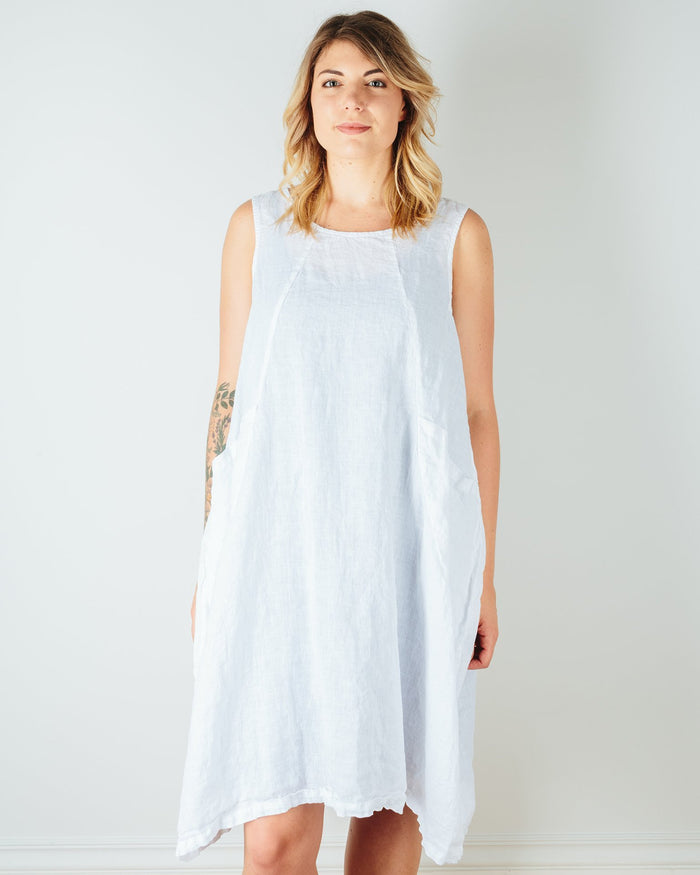 CP Shades Clothing White / XS Ruthie Pocket Tank Dress in White Linen