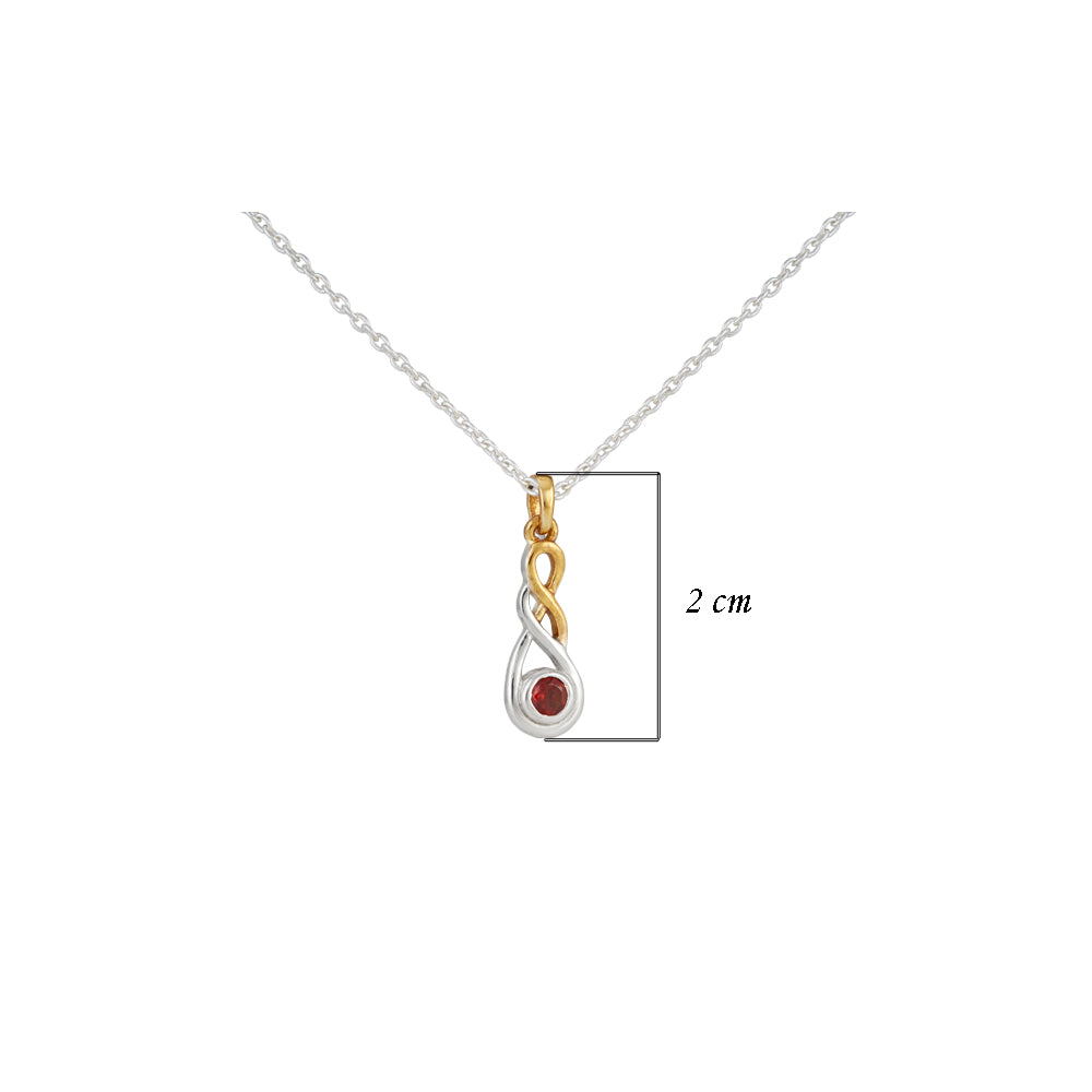 Buy - Hep Audrey Amore Endless Infinity Sterling Silver Pendant Chain With Garnet UK