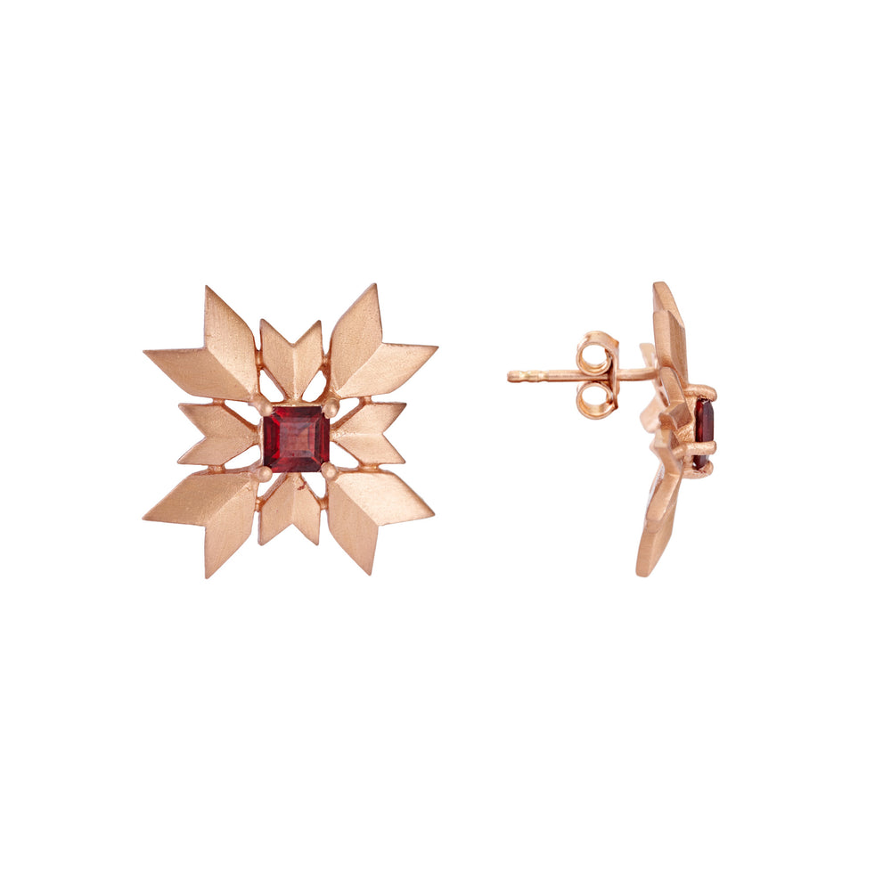 Buy Artisan Collection Red Garnet Snowflake Stud Earring Online