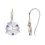 Buy London UK Earrings Online- Artisan Collection Sycamore Leaf Sterling Silver Earrings with Amethyst 2
