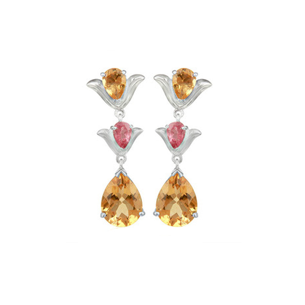 Buy Hep Audrey Aurora Citrine and Pink Tourmaline Sterling Silver Earrings UK