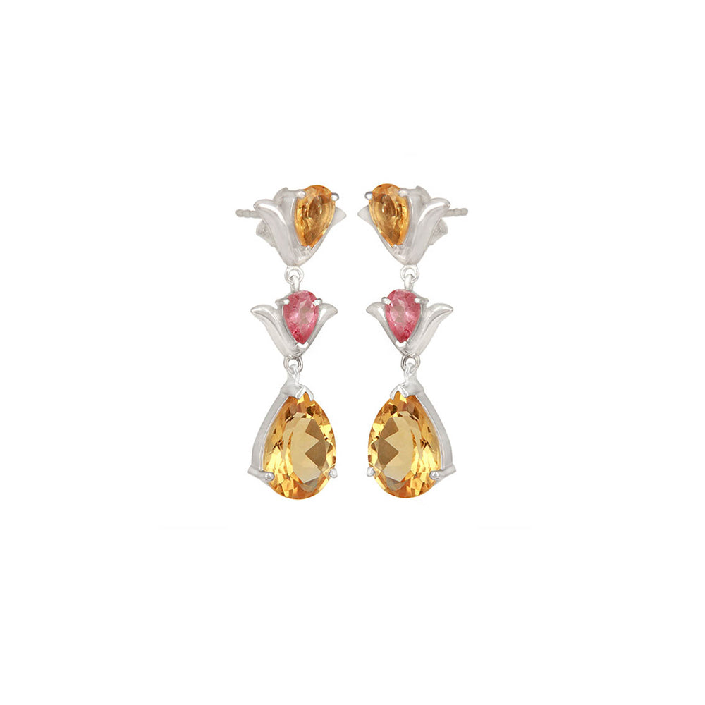 Buy - Hep Audrey Aurora Citrine and Pink Tourmaline Sterling Silver Earrings UK
