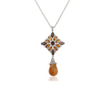 Buy Online Aurora Collection Natural Citrine and Smoky Topaz Pendant with Chain UK