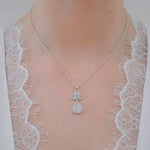 Aurora Classic Blue Topaz and Grey Moonstone Pendant Chain