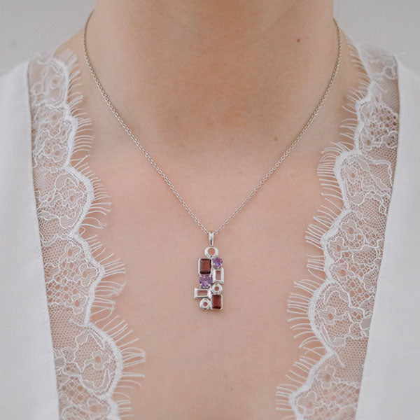 Aurora Geometric Garnet and Amethyst Pendant with Chain