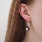 Aurora Geometric Garnet and Amethyst Sterling Silver Earrings