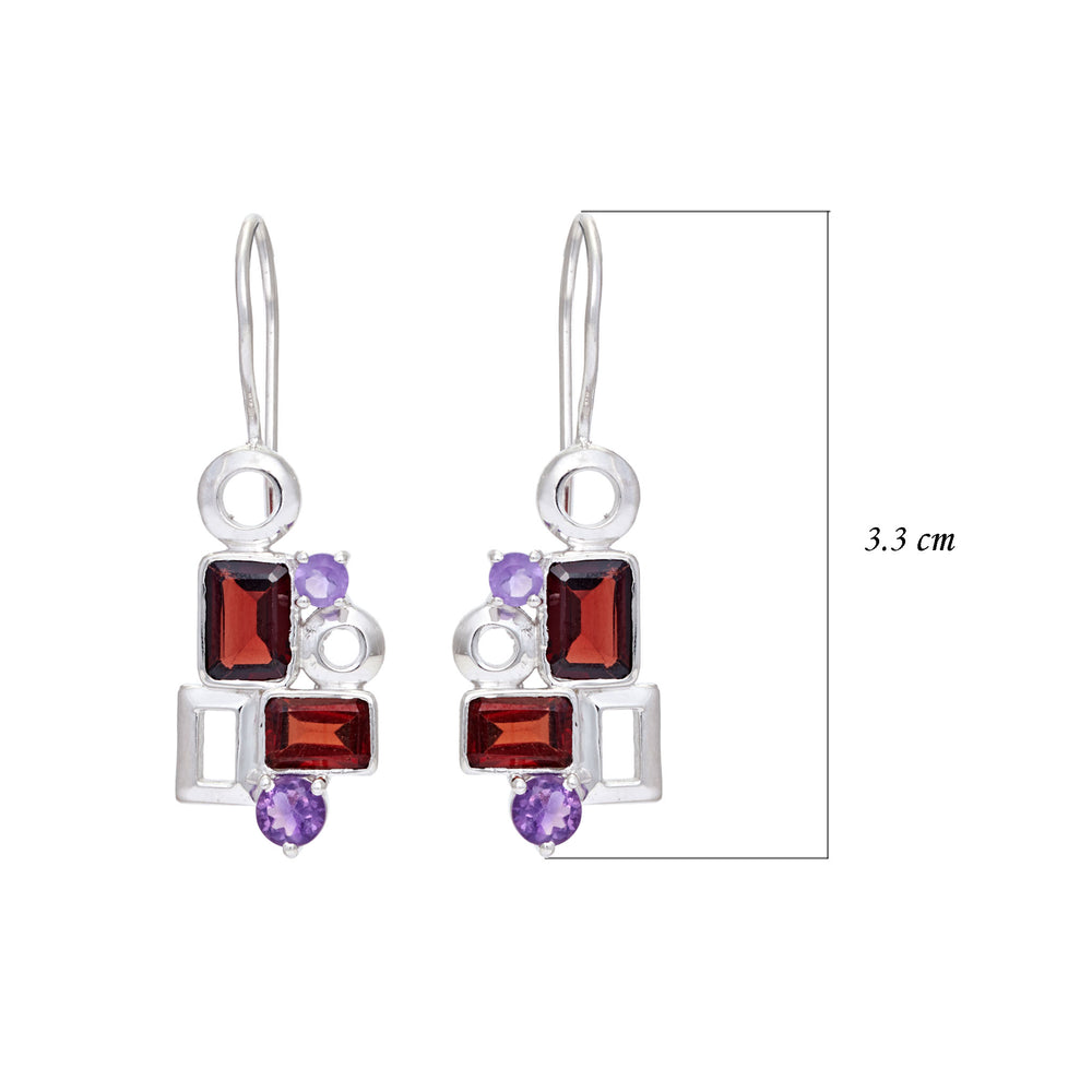 Buy Sterling Silver Hangings online-Aurora Collection Geometric Garnet and Amethyst Sterling Silver Gemstone Earrings UK