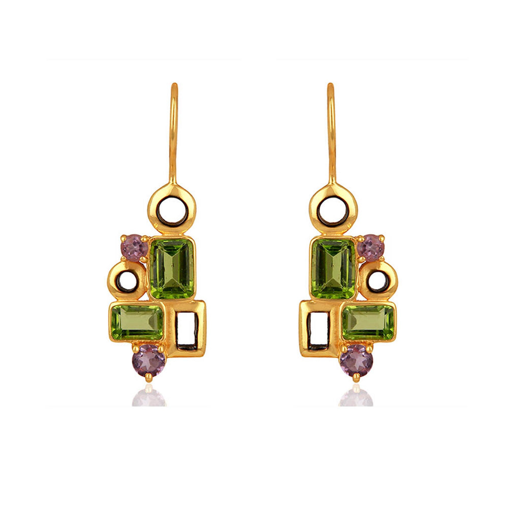 Buy Aurora Collection Peridot and Amethyst Earrings Online UK