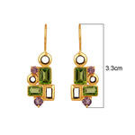 Buy Sparkling Earrings Online- Aurora Collection Peridot and Amethyst Earrings UK