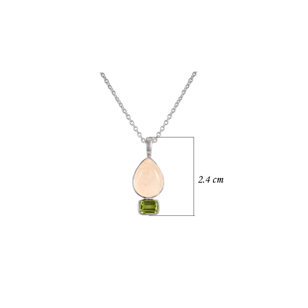 Buy Online Aurora Collection  Sterling Silver  Chain with Rose Quartz and Peridot Pendant UK