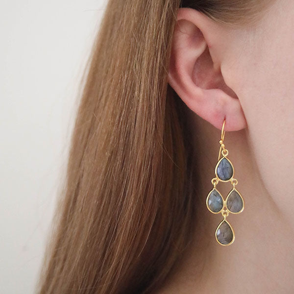 Corona Sterling Silver Chandelier Earrings with Labradorite