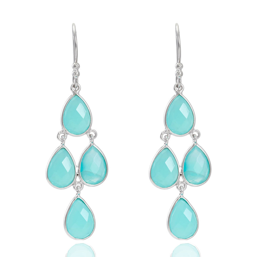 Buy Online  Corona Collection Sterling Silver Chandelier Earrings with Aqua Chalcedony UK