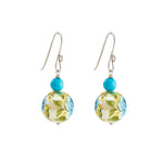 Hep Audrey Floral Blue Printed Pearl Earrings with Turquoise
