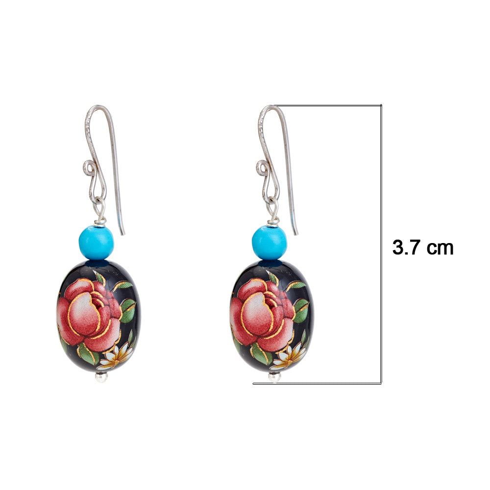 Hep Audrey Oval Black Printed Pearl Earrings with Turquoise UK
