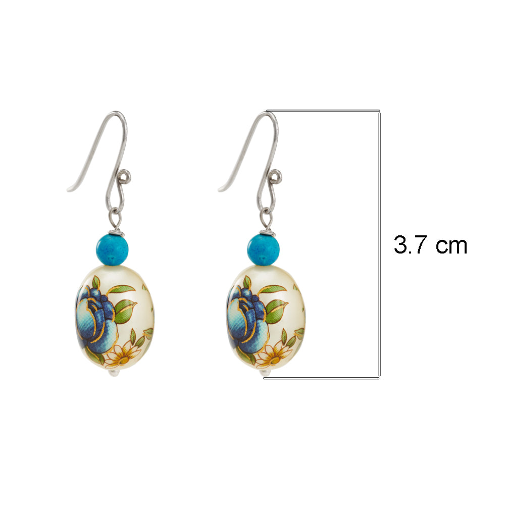 Buy - Hep Audrey Oval Blue Printed Pearl Earrings with Turquoise UK
