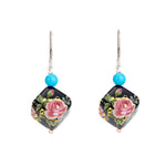 Hep Audrey Square Black Printed Pearl Earrings with Turquoise