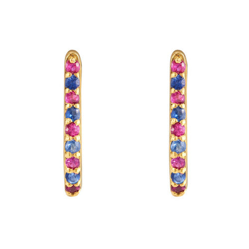 Buy - Hep Audrey Shoop Collection Handmade Blue Sapphire and Ruby 18ct Yellow Gold Earrings