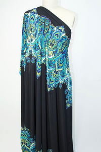 Bold Paisley Double Border ITY Jersey - Blues/Olives on Black