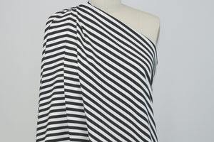 Italian Rayon Striped Ponte Knit - Black/White
