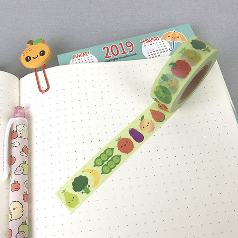 5 A Day Fruit & Vegetables Kawaii Washi Tape