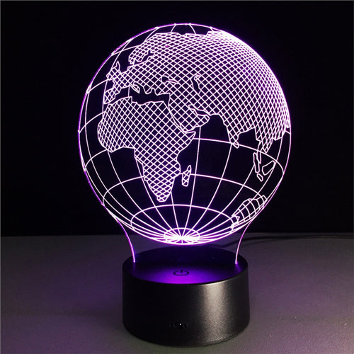 3D Globe Lamp with Changing Light Effects
