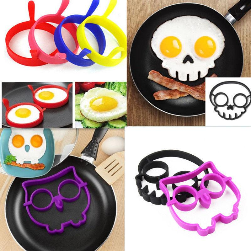 Breakfast Silicone Rabbit Owl Skull Smile Fried Egg Omelette Mold