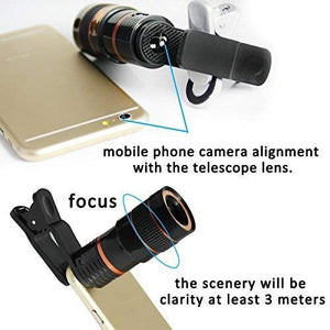 Bulk 8X Mobile Lens Blur Background Effect Telescope HD Lens Kit with DSLR Adjustable Focus HD Pictures for All Smartphones - HomeEkart