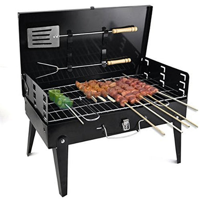 Stainless Steel Portable Briefcase Style Folding Barbecue Grill Toaster (Medium, Black)