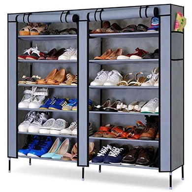 Fancy Fabric Shoe Rack Organizer, 12 Layers (Grey) - HomeEkart