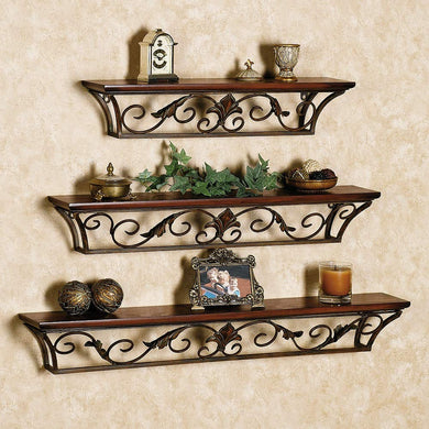 Wall Shelf with 3 Shelves (Brown)