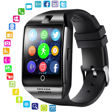 LEMFO Bluetooth Smart Watch Men Q18 With Touch Screen Big Battery Support TF Sim Card Camera for Android Phone Smartwatch - HomeEkart