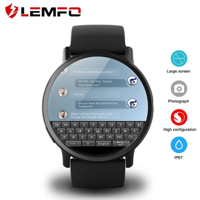 LEMFO LEM X 4G Smart Watch Android 7.1 With 8MP Camera GPS 2.03 inch Screen 900Mah Battery Sport Business Strap For Men - HomeEkart