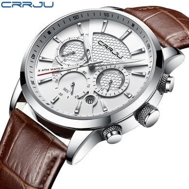 CRRJU New Fashion Men Watches Analog Quartz Wristwatches 30M Waterproof Chronograph Sport Date Leather Band Watches montre homme - HomeEkart