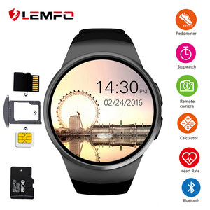 LEMFO KW18 Smart Watch Men Support SIM TF Card Bluetooth Call Heart Rate Pedometer Sport Modes Smartwatch For Android IOS - HomeEkart
