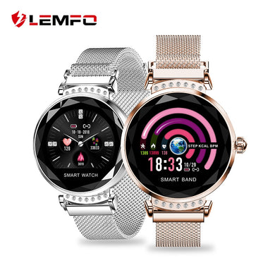 LEMFO H2 2019 New Luxury Smart Fitness Bracelet Women Blood Pressure Heart Rate Monitoring Wristband Lady Watch Gift For Friend - HomeEkart