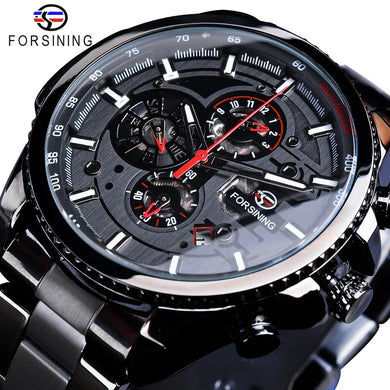 Forsining Three Dial Calendar Display Black Stainless Steel Men Automatic Wrist Watch Top Brand Luxury Military Sport Male Clock - HomeEkart