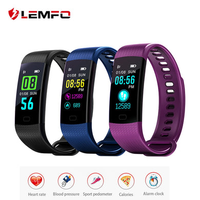 LEMFO Y5 Smart Fitness Bracelet Men Women Color Screen Smart Band Blood Pressure Heart Rate Monitor Wristband for Android IOS - HomeEkart