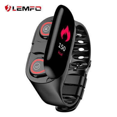 LEMFO M1 Newest AI Smart Watch With Bluetooth Earphone Heart Rate Monitor Smart Wristband Long Time Standby Sport Watch Men - HomeEkart