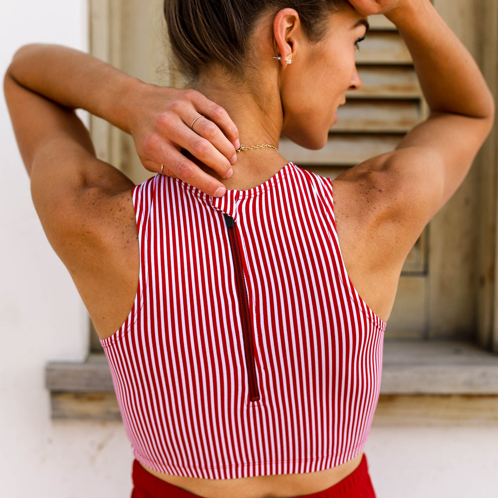 Hello Bombshell Top | Red & White Stripes |