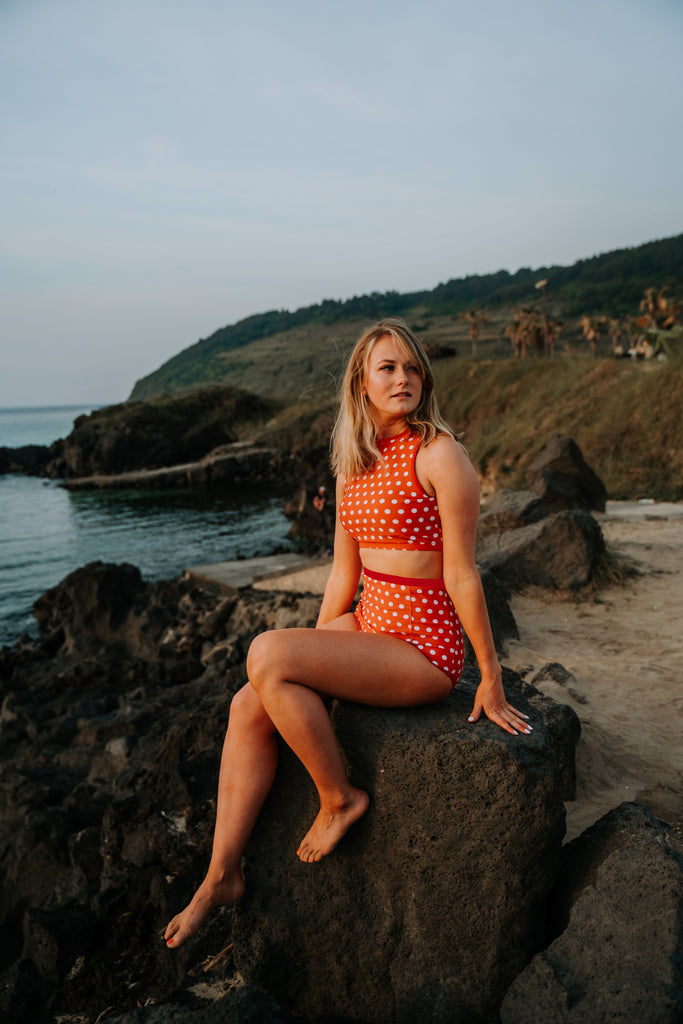 At The Beach Bottoms | Rust & White Polka Dots |