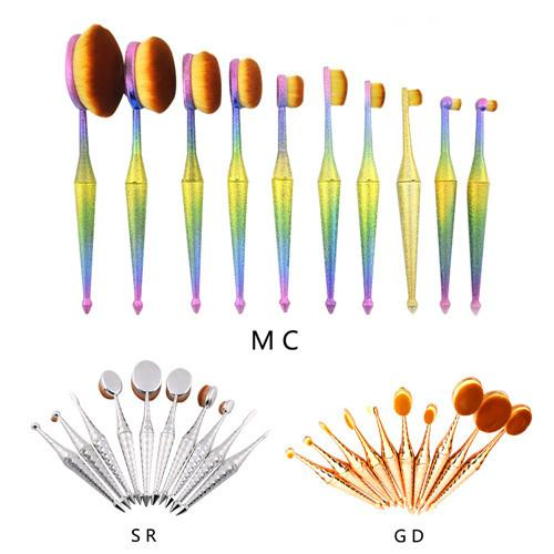 10 pc Oval Mermaid Brushes