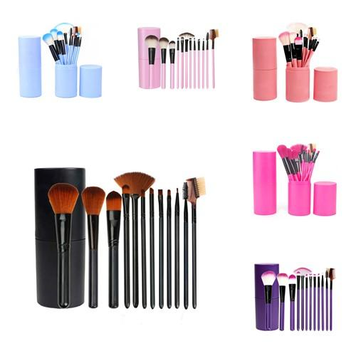 12Pcs Cosmetic Brushes With Barrel Holder